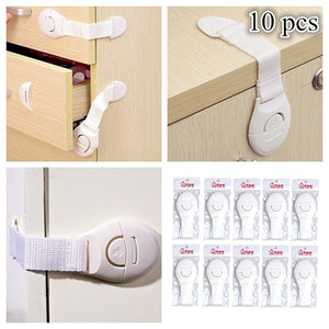 10pcs Portable Multi-functional Baby Infant Kids Adhesive Safety Locks Latches Door Cupboard Cabinet Fridge Drawer Locks