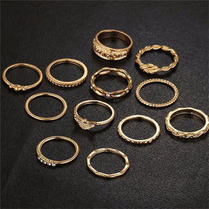 12 Pc/set Charm Gold Color Midi Finger Ring Set for Women Vintage Punk Boho Knuckle Party Rings Jewelry Gift for Girl
