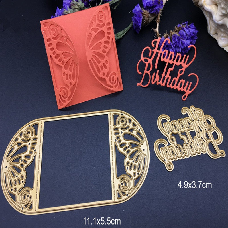1 set Gold Metal cutting dies butterfly card frame happy birthday Scrapbook card album paper craft home decoration embossing ste