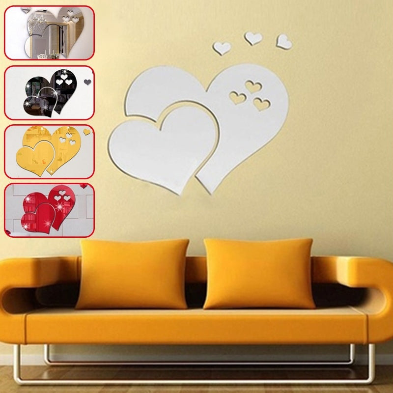 4 Colors Three Dimensional Mirror Heart Wall Decal Stickers Lovely ...