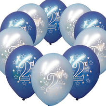 10Pcs/Pack Baby Boys and Girls Age 1 and Age 2 Latex Party Birthday Decorative Ballons
