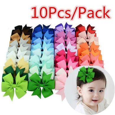 10 Pcs/Pack Wholesale Bowknot Hairpin Kids Baby Girls Hair Bow Clips Barrette  Harvest(Random Color)