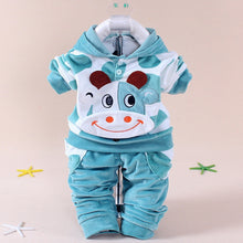 2 Piece Set Long Sleeved Hoodie+Pants Baby Cute Cartoon Velvet Cotton Suit Baby Clothes