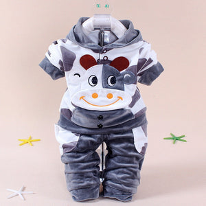 2 Pieces Set Baby Cute Cartoon Velvet Cotton Long Sleeved Suit Baby Clothing Hoodie+Pants