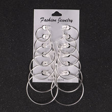 12Pairs/set Punk Style Gold/Silver Plated Alloy Drop Earring Set Trendy Simple Elegant Unique Earrings Women Jewelry Accessories