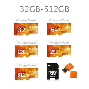 2017 64GB-512GB High Speed Orange Wave MicroSD SD/TF Card Class10 Flash Memory + SD Card Reader + Adapter Reader