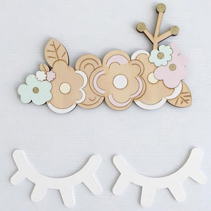 1 Pair Cute Sleepy Eyes Wood Eyelash Wall Sticker Home Furnishing Baby Room Pose Decorative Wooden Ornaments Kids