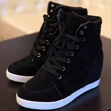 2 Colors Women Fashion Wedge Sneakers High Heel Shoes Black Red Tennis Shoes Casual Outdoor Shoes