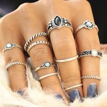 12PCS/Set Bronze Silver Gem Vintage Ring Set Jewelry Fashion Women Praty Personality Geometric Rings Kit Accessories Gifts
