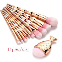 11pcs/set Trendy Mermaid Unicorn Horn Makeup Brush Set Big Fish Tail Foundation Pwoder Face Eyeshadow Make-up Brushs Women Beaut