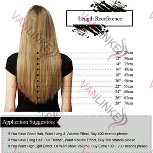 100Strands Ombre Hair Easy Loop/Micro Ring Beads Remy Human Hair Extensions Long Straight Wig Charm16-26inch