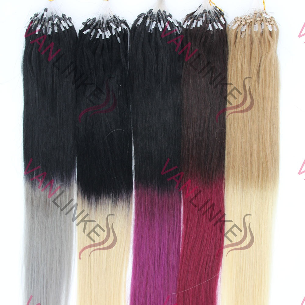 100strands Ombre Hair Easy Loopmicro Ring Beads Remy Human Hair