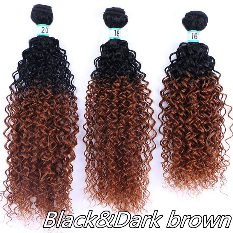 161820inch Afro Curly Weave Ombre Hair Extensions Synthetic Hair