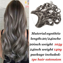 "20""/24""Curly Straight Secret Wire No Clip Hair Extensions Natural Hidden Wire Synthetic Hairpieces adjustable transparent Wire"