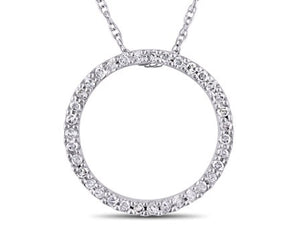 1/8 CT TW Diamond Circle Pendant with Chain in 10k White Gold