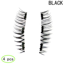 2 Pairs/4pcs Lasting Three Magnet False Eyelashes 3D Magnetic Eyelashes Handmade Reusable Eye Lashes Set