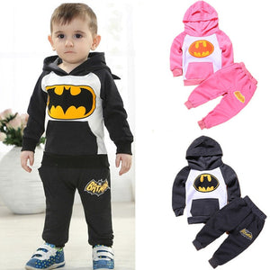 2 Piece Set Hoodie+Pants Set Boys and Girls Cartoon Batman Clothes Set Children Tracksuit  Kids Clothing Suit  2-7 Ages