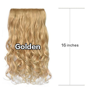 16'' 1 Piece 5 Clips Synthetic Fiber Hairpiece Clips in on Hair Extension Curly Wavy Hairpieces Wigs