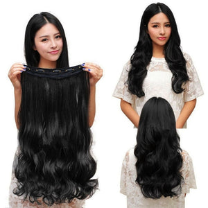1Pcs Fashion New Long Women Hair Extensions Wavy Curly Synthetic Clip in on