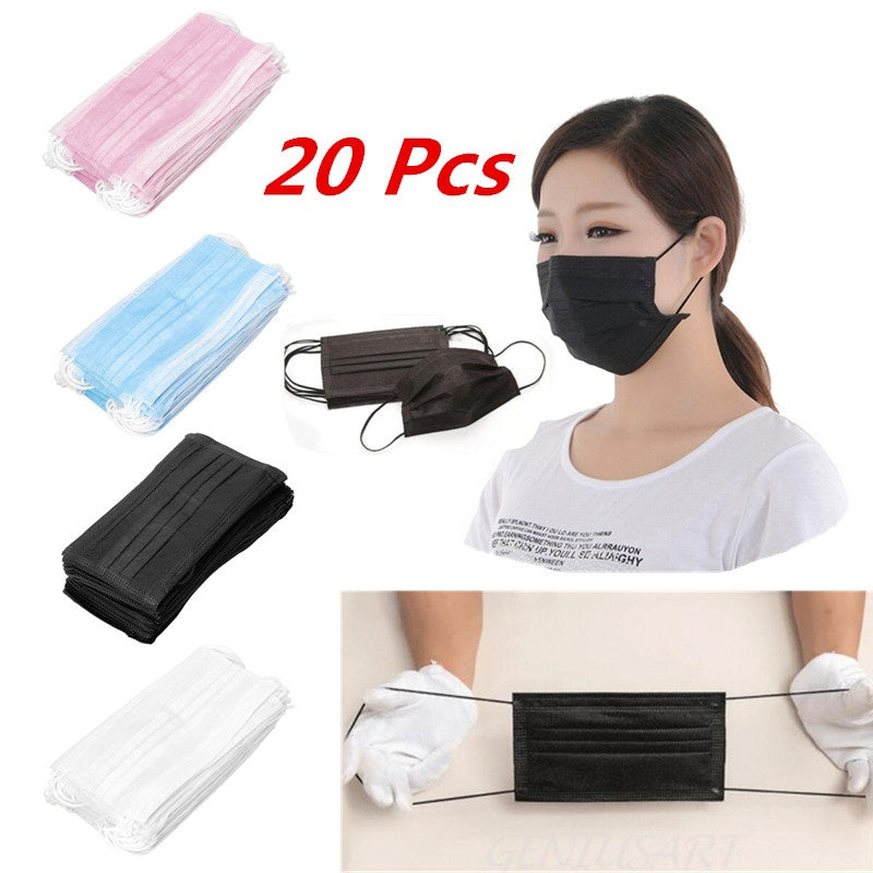 20 Pcs Elastic Ear Loop Disposable Medical Dustproof Surgical Face Mouth Masks Ear Loop