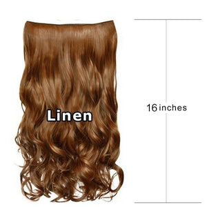 16''/24'' Synthetic Fiber Hairpiece Clips in on Hair Extension Curly Wavy Hairpieces Wigs for Party Cosplay Beauty