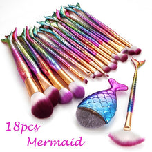 18 Style Mermaid Fishtail Professional Makeup Brush Set Fashion Women Beauty Make Up Cosmetic Brushes Tools Accessories