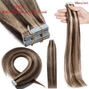 16-22 inch Women H- uman Tape In Skin Weft Real Hair Extensions Style Hairpiece