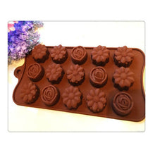 15 Cavity Silicone Flower Rose Chocolate Mold Cake Soap Candy DIY Fondant Mould