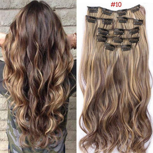 18Style Full Head Clip in Hair Extensions Synthetic Thick Long 5/16 Clips Straight / Curly Hairpieces Wigs 24'' 60cm