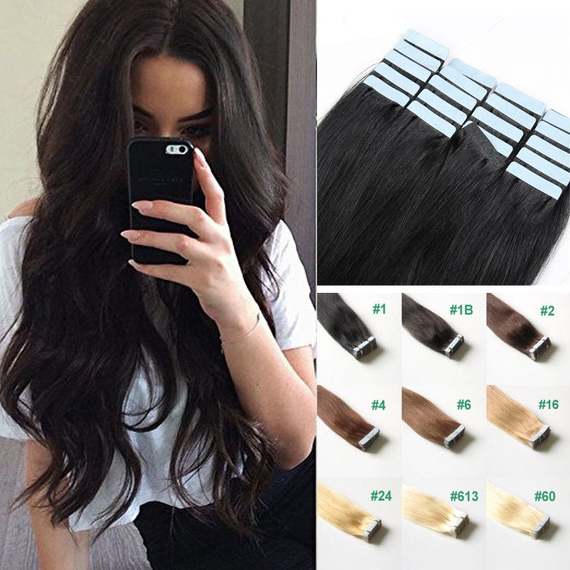 14 24 Inch Tape In Real Hair Full Head Remy Hair Extensions Blonde