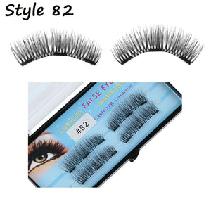 2 Paris/4 Pcs SK SKONHED Handmade Triple Magnetic False Eyelashes Full Coverage Glue-free Lashes Extension Tools Beauty