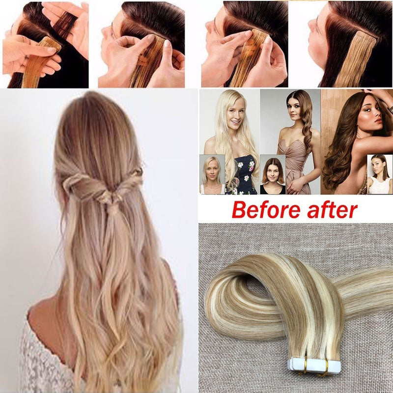 20pcs Real Hair Extensions Virgin Brazilian Hair Blonde Straight