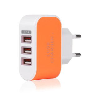 3.1A 3-Port USB Adapter Travel Wall Charger USB Charger AC Charger Reliable Charging For IPhone X / 8 / 7 / 7 Plus / 6s / 6s Plu