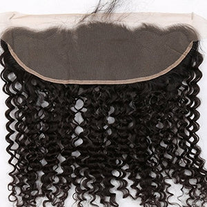 13x4 Deep wave Lace Frontal Closure Hair Free Part Ear to Ear Curly Wave Brazilian Virgin Remy Hair Frontal Natural Color 8-22 i