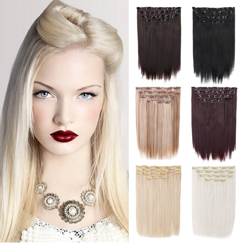 15 Inch Straight Clip In Hair Extensions Creamily 8pcs Synthetic Hairp