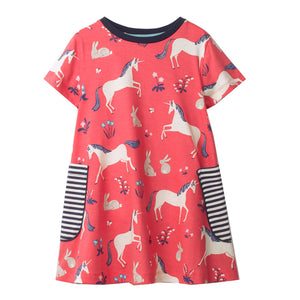 Girls Dresses 2018 Brand Kids Unicorn Dress Toddler Girls Summer Clothing Animal Cotton Vestidos Children Princess Dress 2-7T