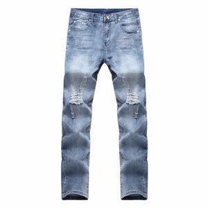 HOT 2018 Fashion Casual Broken Ripped hole Knife Cut Knee washing hip hop Destruction Stretch Slim Jeans Men's Pants