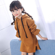 JIOROMY Girls Dress 2018 Winter Long Sleeve Hoodie Thicker Warm Letter Dresses for Large Girls Children's Clothing Kids Clothes