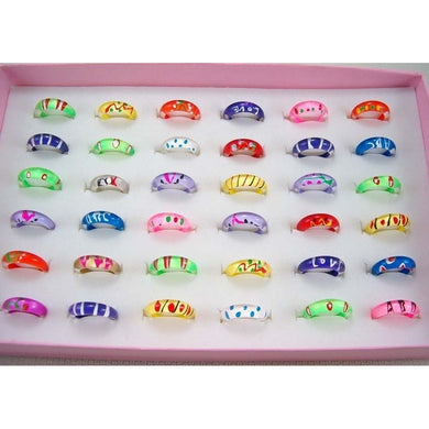 15pcs/set Fashion Children's Funny Cute Colorful Round Wholesale Price Ring Cartoon Butterfly Ring Children's Day Gifts    (NO B