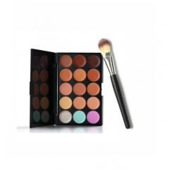 15 Colors Makeup Concealer Contour Palette + Makeup Brush