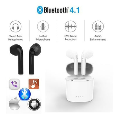 HBQ i7s Bluetooth Earphones Wireless Headset Microphone Headphones Mini Earbuds with Charging Case for Samsung Android iPhone iP
