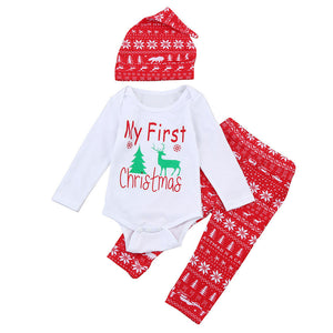 2017 Festival Infant Baby Clothes Sets Newborn Baby Clothing Christmas Baby Elk Deer Print Long Sleeve Romper+Pants+ Hat 3PCS