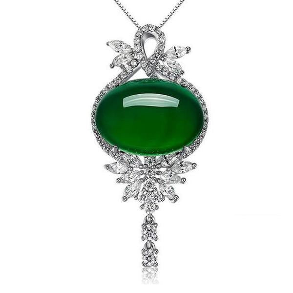 Fashion women sterling silver necklace with crystal green onyx fashion women sterling silver necklace with crystal green onyx pendant ebuystore aloadofball Image collections
