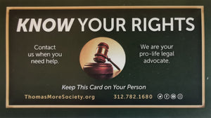 Thomas More Society (TMS) Know Your Rights Cards (Set of 25)