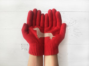 Dachshund Gloves / Red