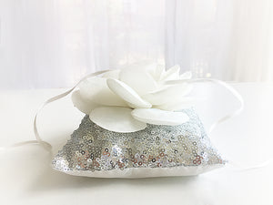 Ring Bearer Pillow / Silver Sequin / Flower