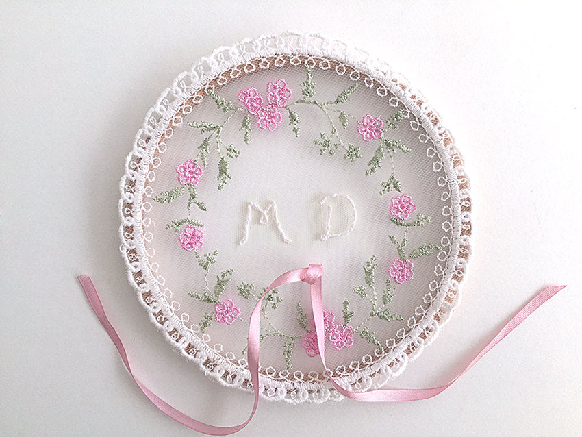 Ring Bearer Pillow / Hoop / Monogram / Pink