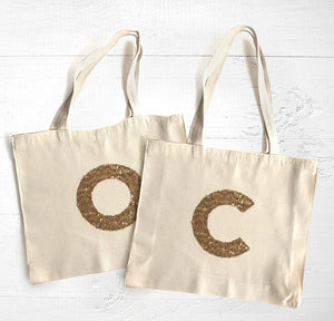 Tote Bag / Monogram / Gold Sequin