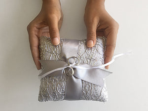 Ring Bearer Pillow / Fishnet Silver Sequin / Silver Ribbon