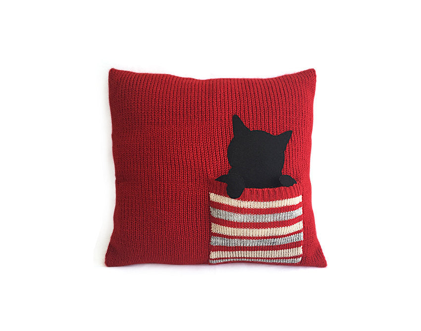 Pillow Cover / Cat / Pocket